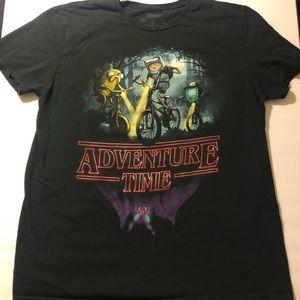Adventure Time X Stranger Things Collab Tee Sz XL